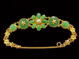 22kt Gold Bracelet Chinese Aloha Memorabilia Company Jade