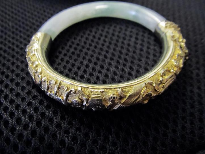 Chinese Export Silver With Gold Overlay Jade Bangle Bracelet Aloha Memorabilia Company Alohamemorabilia